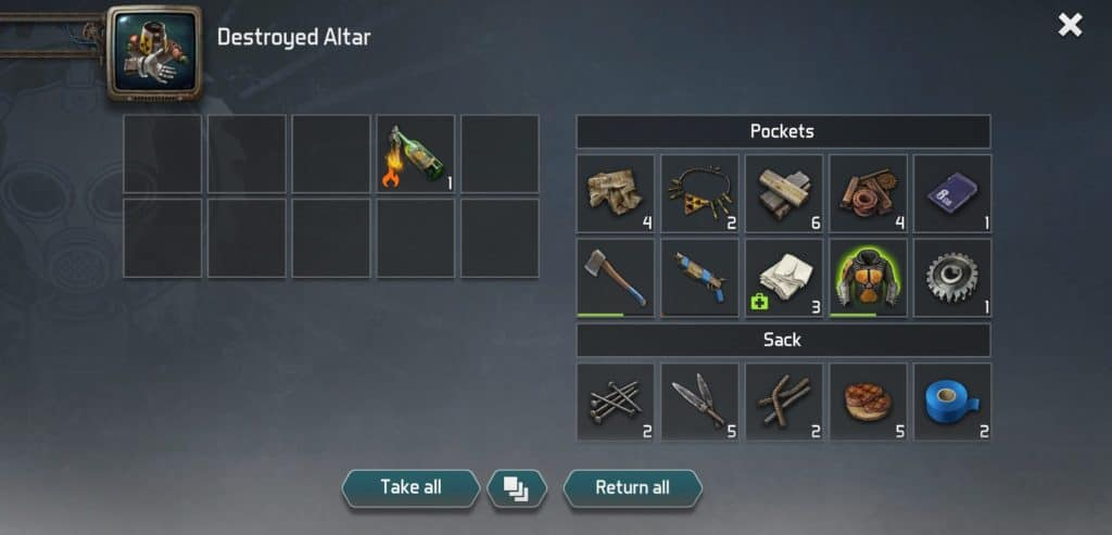 Dawn of Zombies - Inventory